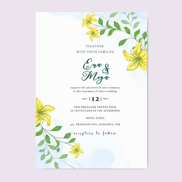 Свадебное приглашение с красивыми желтыми цветами листьев Premium векторы