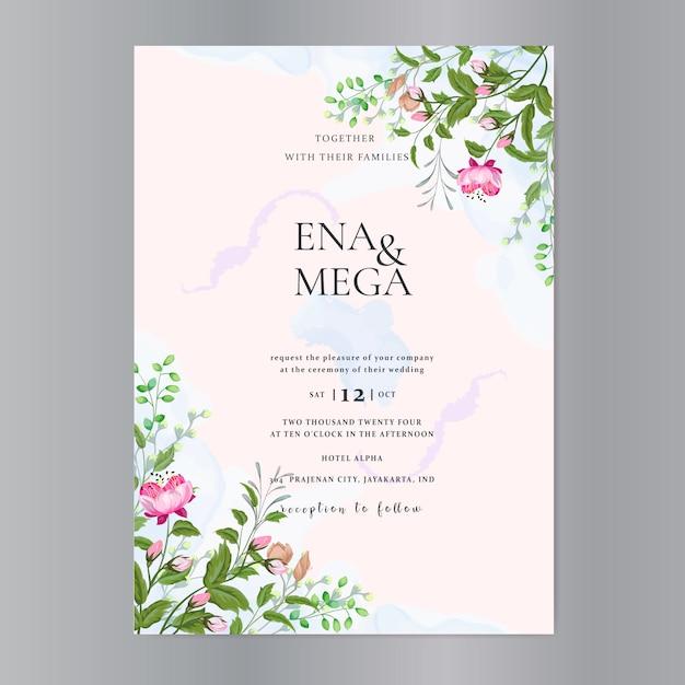 美しい花の花輪を持つ結婚式カードテンプレート Premiumベクター