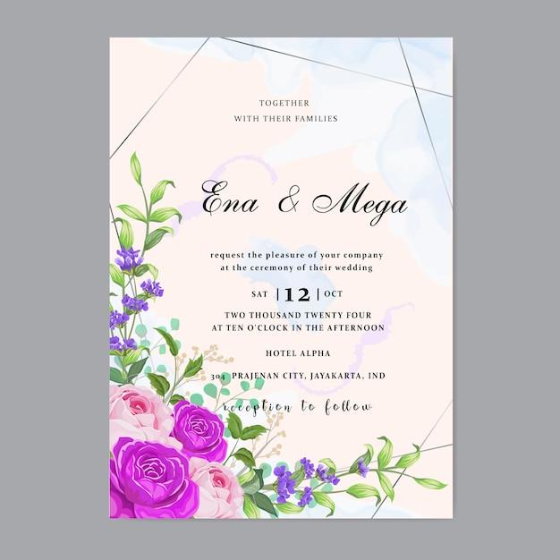 Свадебное приглашение с красивыми цветами листьев Premium векторы