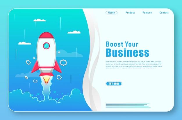 Простая бизнес-целевая страница с ракетными формами Premium векторы