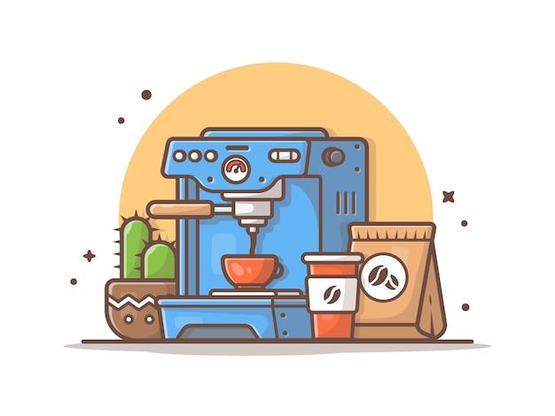 Кофемашина с кактусом, чашкой и кофейными зернами векторная иллюстрация Premium векторы