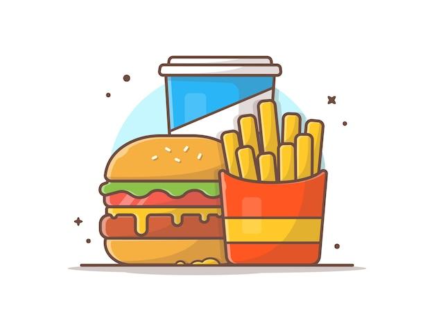 Вкусное комбинированное меню детского меню с картофелем фри и газировкой Premium векторы