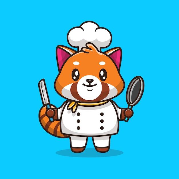 Симпатичные красная панда шеф-повар значок иллюстрации. плоский мультяшный стиль Premium векторы