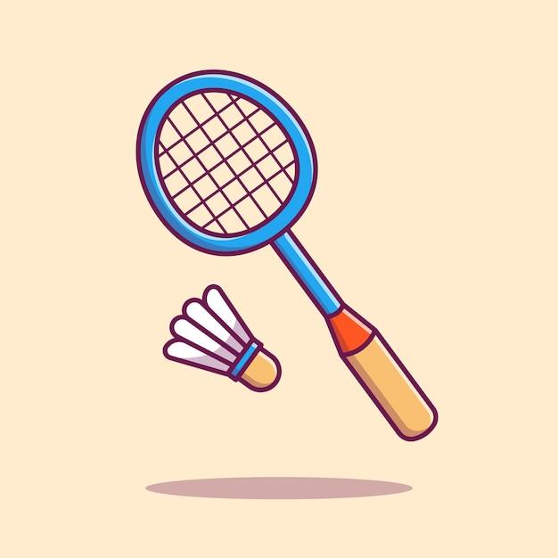 羽根アイコンイラストバドミントンラケット。分離されたスポーツアイコンコンセプト。フラット漫画スタイル Premiumベクター
