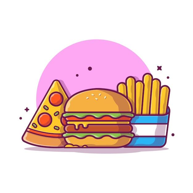 フライドポテトとピザアイコンイラストハンバーガー。ファーストフードアイコンのコンセプトが分離されました。フラット漫画スタイル Premiumベクター