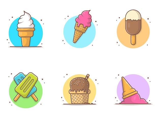 Мороженое коллекция иконка иллюстрация Premium векторы