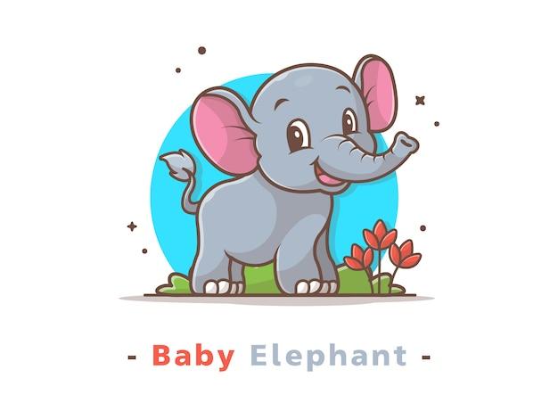 かわいい赤ちゃん象のロゴマスコット Premiumベクター