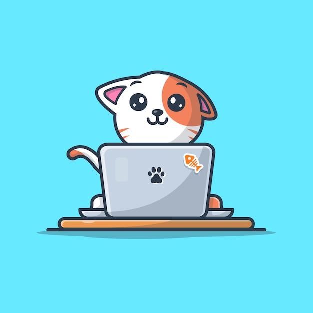 ラップトップのロゴアイコンイラストに取り組んでいる猫 Premiumベクター