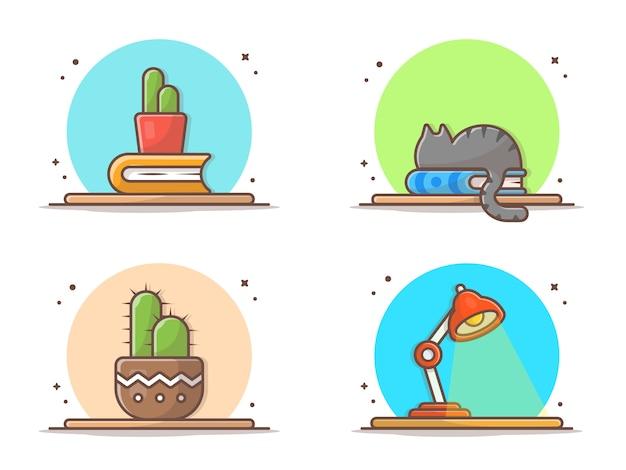 サボテン、本、テーブルアイコンの上の猫 Premiumベクター