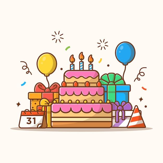 Коробка подарков с тортом ко дню рождения Premium векторы