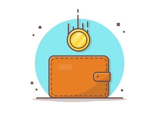 Кошелек с летающими золотыми монетами векторная иллюстрация значок Premium векторы