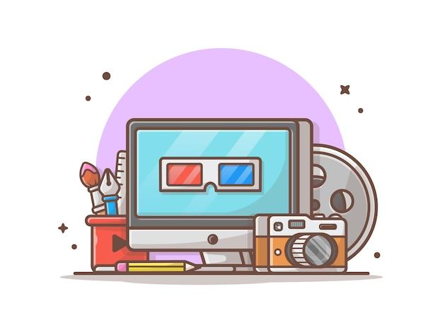 マルチメディアアイコンイラスト。デスクトップ、文房具、カメラ、技術アイコンコンセプトホワイト分離 Premiumベクター