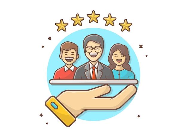 Рейтинг клиентов иконка иллюстрация Premium векторы