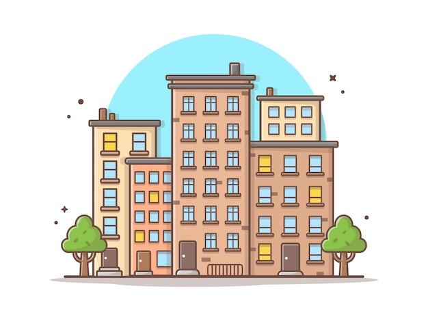 都市の景観ベクトルアイコンイラスト。美しい町、建物、ランドマークのアイコンコンセプト Premiumベクター