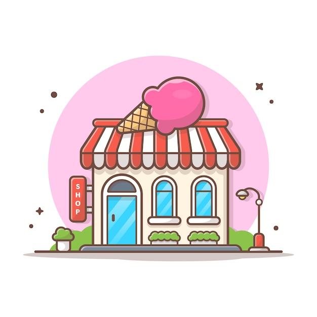 Мороженое магазин вектор иконка иллюстрация. концепция здания и ориентир значок белый изолированный Premium векторы