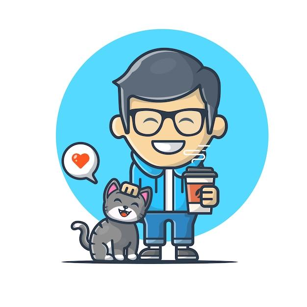 猫ベクトルアイコンイラストとコーヒーを保持している男。猫の恋人のマスコットのロゴ Premiumベクター