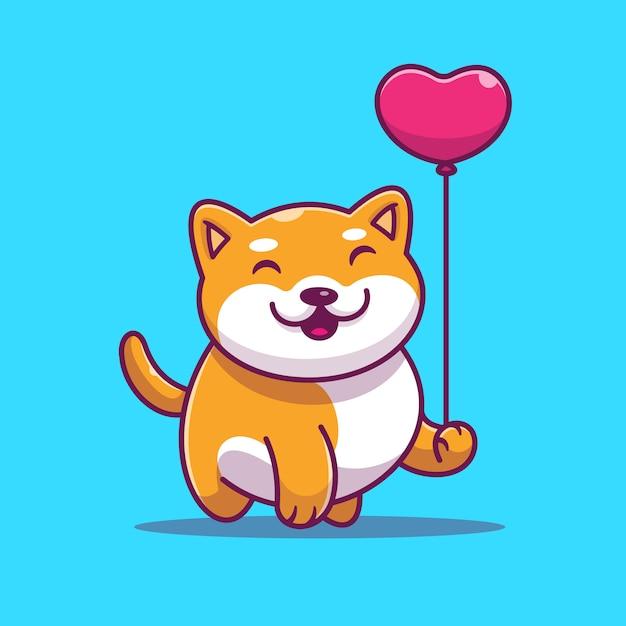 Симпатичные шиба ину, холдинг любовь воздушный шар векторные иллюстрации. собака и сердце Premium векторы