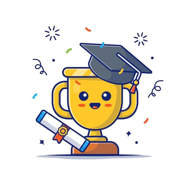 Симпатичные золотой трофей с иконой стипендии. золотой кубок талисман, значок образования белый изолированный Premium векторы