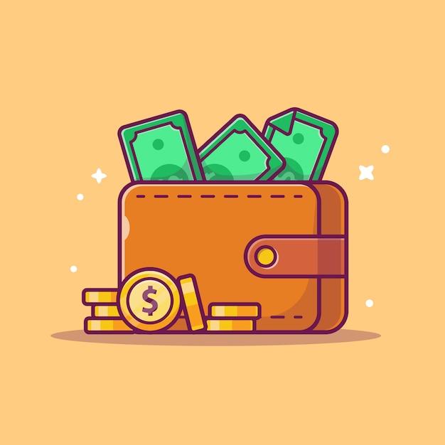 Экономия денег значок. кошелек, деньги и стопка монет, значок бизнес изолированные Premium векторы