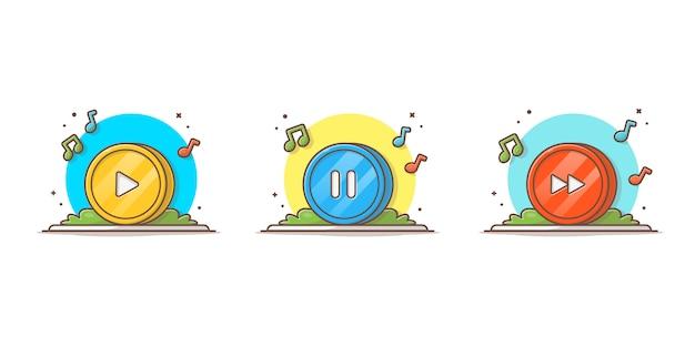 チューンとノート音楽とサークルコインのボタン。マルチメディア再生ボタンホワイト分離 Premiumベクター