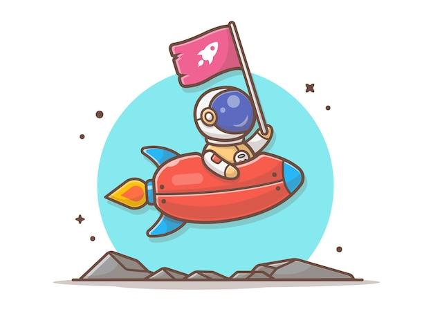Симпатичный астронавт держит флаг с ракетой в космосе иллюстрация Premium векторы