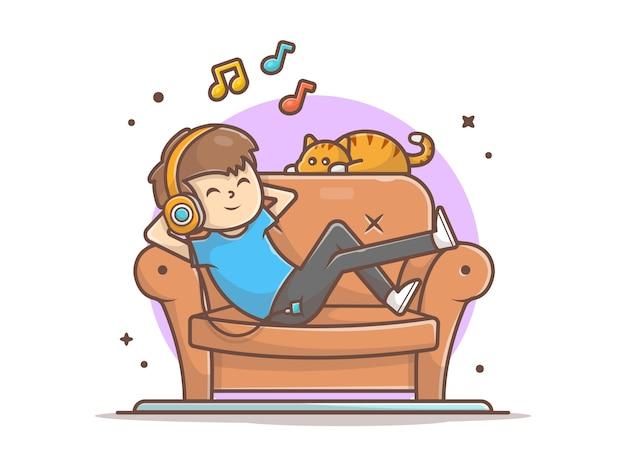 Счастливый мальчик, слушая музыку на диване с милой кошкой, мелодия и ноты музыки значок белый, изолированные Premium векторы