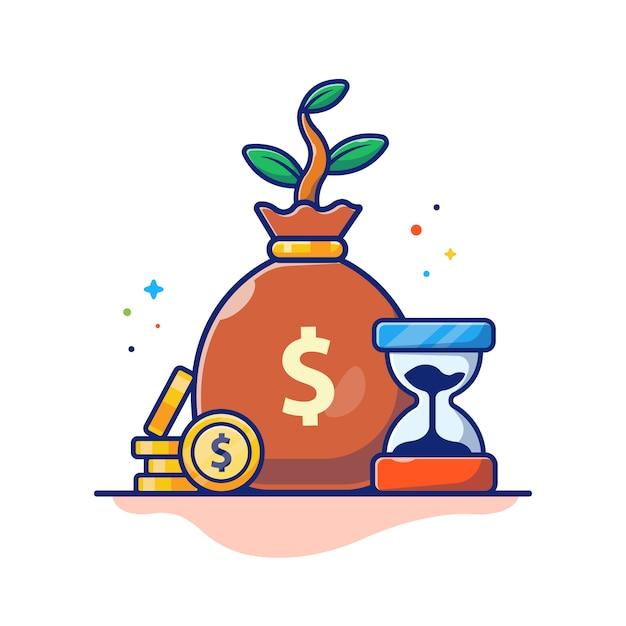 Время деньги иллюстрация. песочные часы, денежный мешок и стопка монет, бизнес-концепция, изолированные на белом Premium векторы