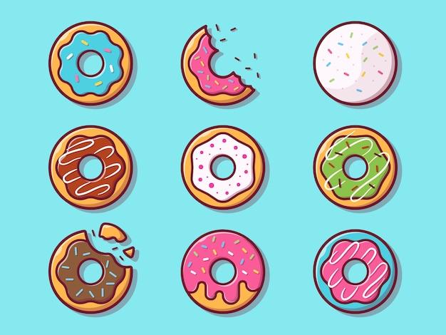 Иллюстрация пончики. установите коллекцию пончик. изолированная концепция еды Premium векторы