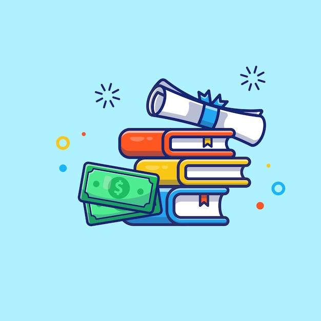 Иллюстрация стипендии. диплом, книга и деньги. Premium векторы