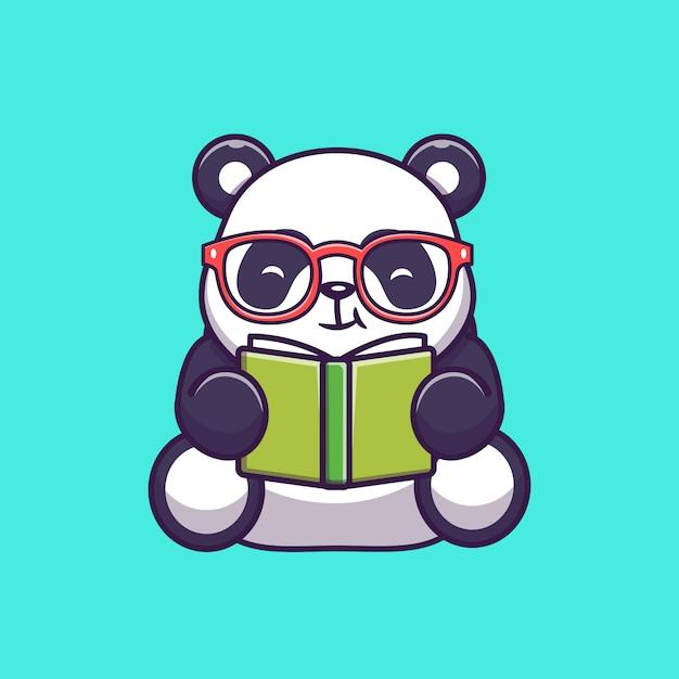 Симпатичные панда, чтение книги значок иллюстрации. панда талисман мультипликационный персонаж. животное иконка концепция изолированные Premium векторы
