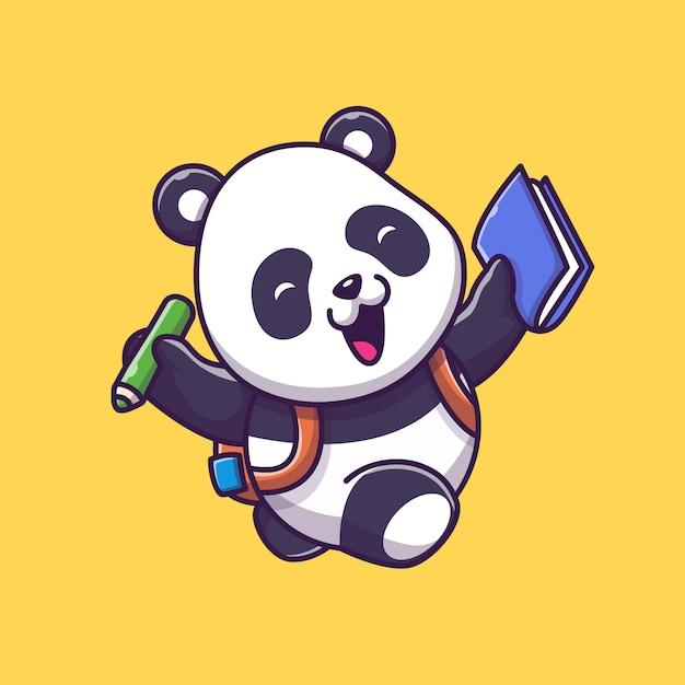 アイコンイラストを勉強してかわいいパンダ。パンダマスコットの漫画のキャラクター。分離された動物アイコンコンセプト Premiumベクター