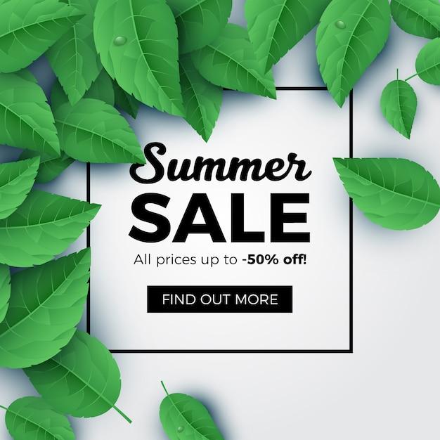 夏のセールグリーン葉の背景 Premiumベクター