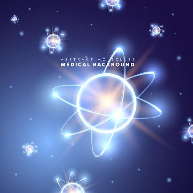 抽象的な明るいネオンの原子的背景 無料ベクター