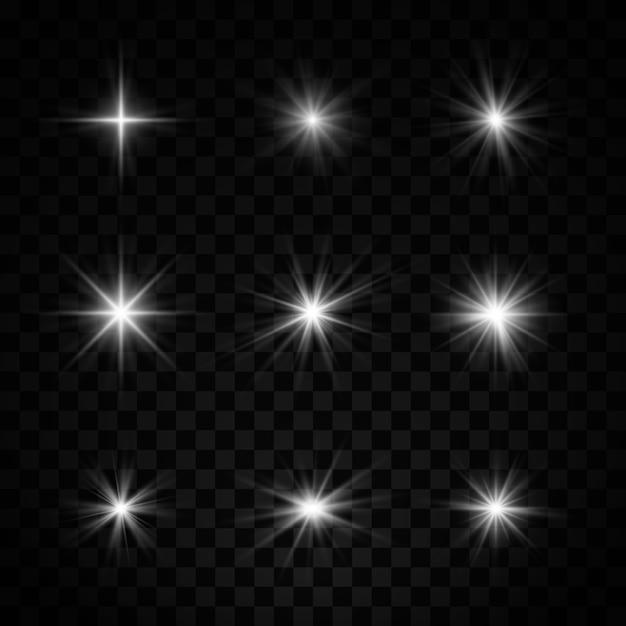 Набор белой звезды с пылью и блеском. световой эффект Premium векторы