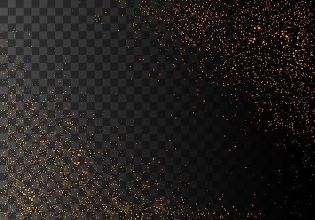 ほこりの火花と金色の星が特別な光で輝いています。 Premiumベクター