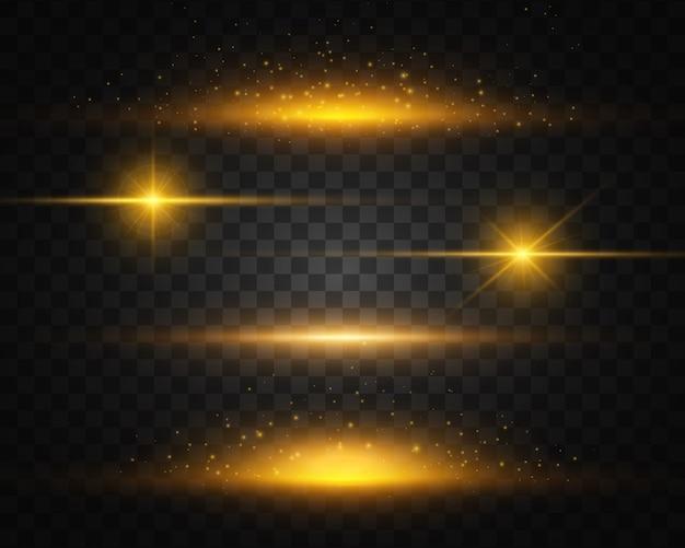 黄色のセット、金色の輝く光が爆発します。輝く太陽。 Premiumベクター