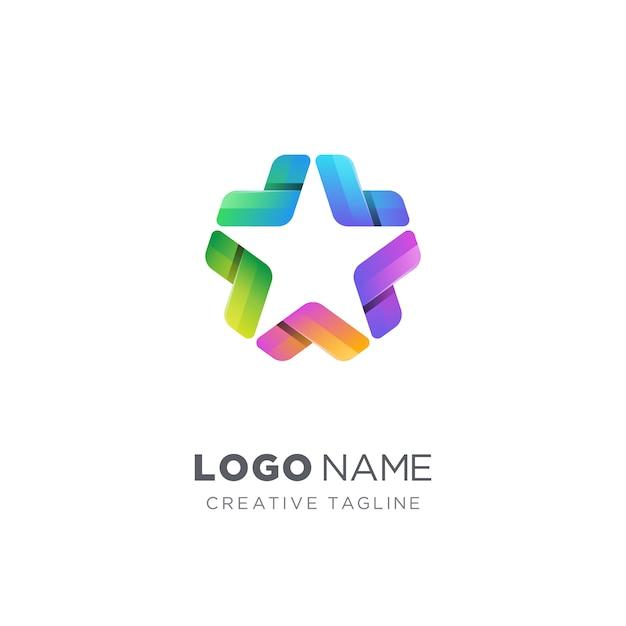 Креативный красочный логотип звезды Premium векторы