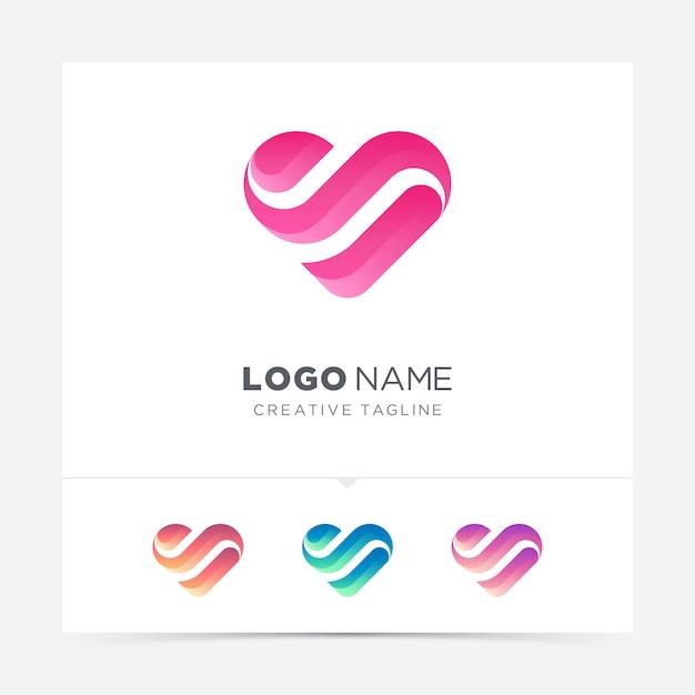 抽象的な創造的な愛のロゴのバリエーション Premiumベクター
