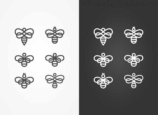 Черно-белый жук-шершень Premium векторы
