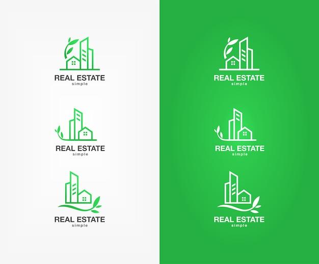Набор зеленого логотипа недвижимости Premium векторы