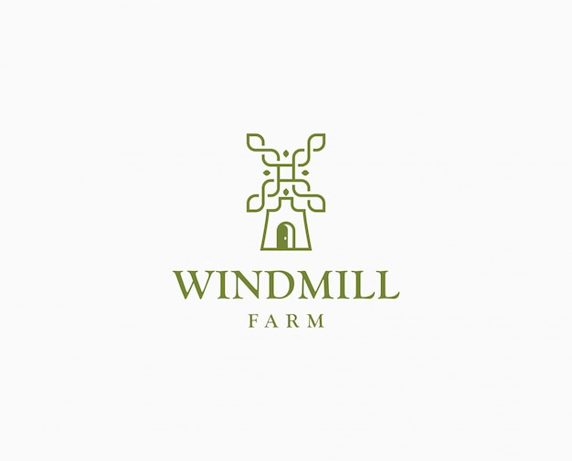 農業小麦工場のロゴ。ワイルドミルファームのロゴのテンプレート Premiumベクター