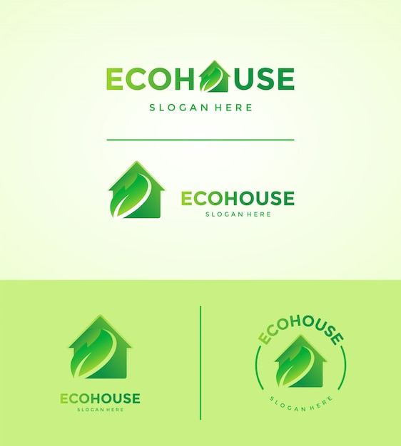 エコハウスのロゴセット Premiumベクター