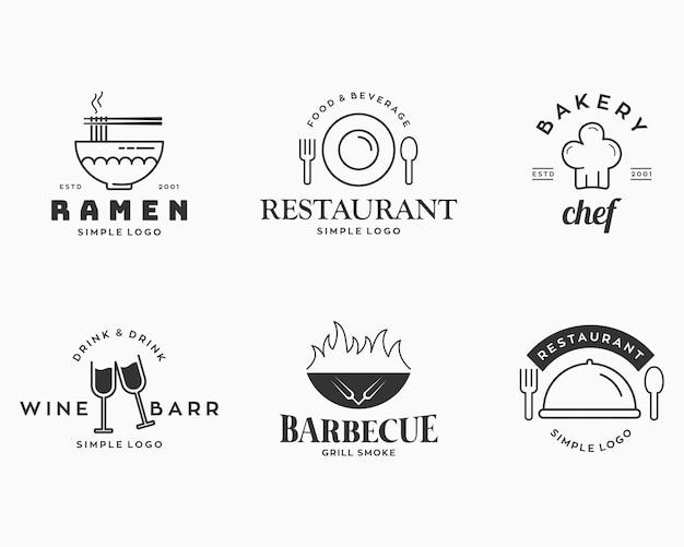 Набор значков и элементов ярлыков для ресторана с логотипом рамэн, пекарня, барбекю, винный бар и др. Premium векторы