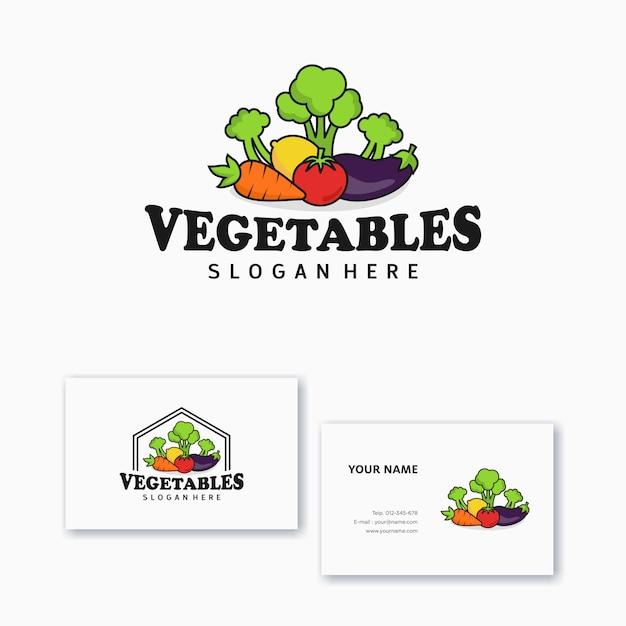 名刺とロゴデザインテンプレート野菜アイコン Premiumベクター