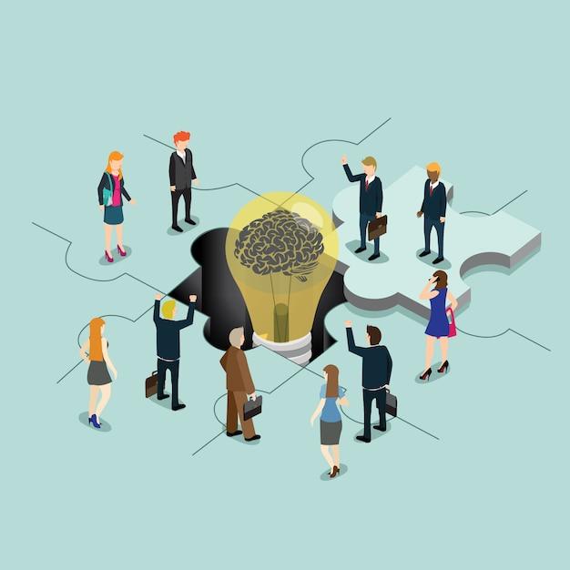 パズルのアイデアを創造的なビジネス人々 Premiumベクター