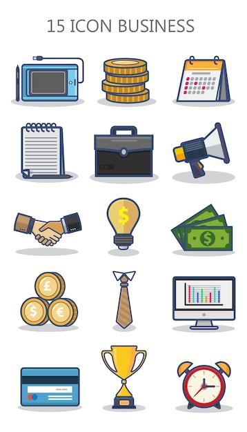 Иконка бизнес с плоской концепцией дизайна Premium векторы