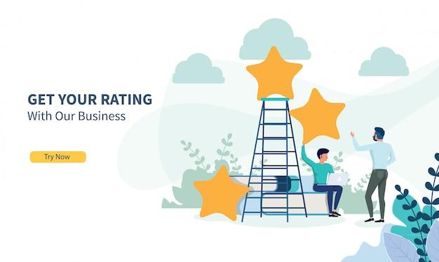 フラットなデザインとランディングページで評価を探しているビジネス人々 Premiumベクター