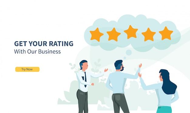 Деловые люди ищут рейтинг с плоским дизайном и целевой страницей Premium векторы