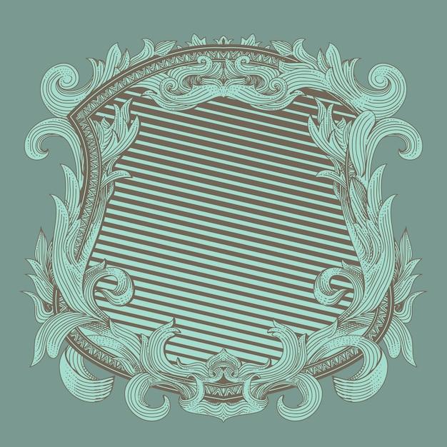 Ренессансный геральдический значок со старинным орнаментом флоры Premium векторы