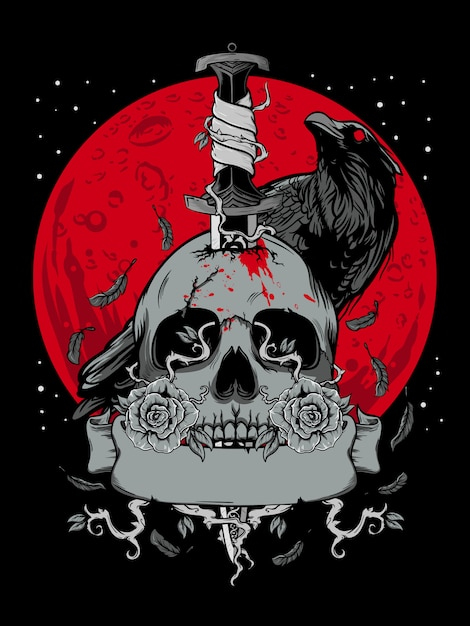 暗い月とカラスのイラストでハロウィーンの頭蓋骨 Premiumベクター